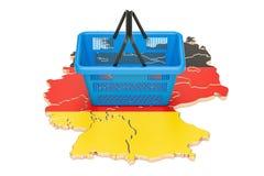Shopping basket on German map, market basket or purchasing power Stock Photography