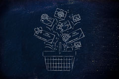 Shopping basket with gift cars and coupons, customer fidelizatio Stock Photo