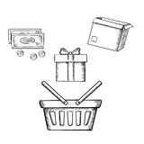 Shopping basket, gift, parcel and money Stock Photography