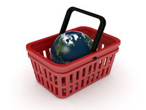 Shopping basket and globe Royalty Free Stock Image