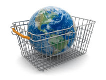 Shopping Basket and Globe (clipping path included) Royalty Free Stock Image