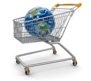 Shopping Basket and Globe (clipping path included) Royalty Free Stock Photography