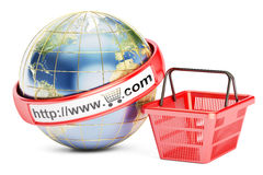 Shopping basket with globe, 3D rendering Stock Image