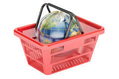 Shopping basket with globe, global shopping concept. 3D renderin Stock Images