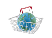 Shopping basket with globe Royalty Free Stock Image