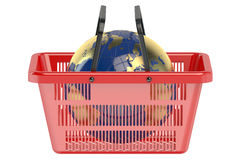Shopping basket with globe Stock Photography