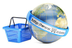 Shopping basket with globe, online shopping concept. 3D renderin Stock Photo