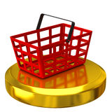 Shopping basket on gold podium Royalty Free Stock Photos