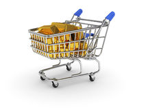 Shopping basket with golden bars Stock Photo