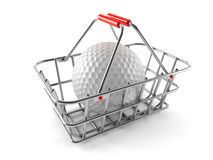 Shopping basket with golf ball Stock Images