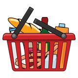 Shopping basket. With goods. This is file of EPS10 format Stock Image