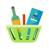 Shopping Basket with Goods Vector Illustration. Royalty Free Stock Photos