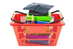 Shopping basket with graduation cap  and books, pay for educatio. N concept. 3D Stock Photo