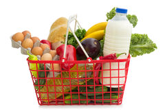Shopping basket. With groceries,  over white background Stock Image