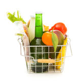 Shopping Basket With Groceries, Rear View Stock Image