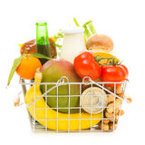 Shopping Basket With Groceries, Side View Stock Image
