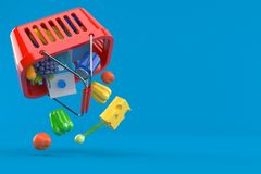 Shopping basket with grocery. On blue background. 3d illustration Royalty Free Stock Photos