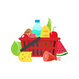 Shopping basket with grocery products, full of healthy groceries product Royalty Free Stock Photography