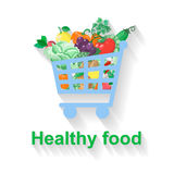 Shopping basket with healthy food Royalty Free Stock Image