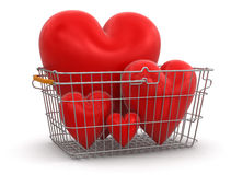 Shopping Basket and hearts (clipping path included) Stock Photos