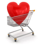 Shopping Basket and hearts (clipping path included) Royalty Free Stock Photos