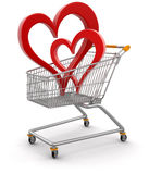 Shopping Basket and hearts (clipping path included) Stock Photo