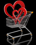 Shopping Basket and hearts (clipping path included) Royalty Free Stock Photography