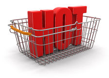 Shopping Basket and Hot (clipping path included) Royalty Free Stock Image