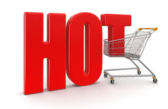 Shopping Basket and Hot (clipping path included) Royalty Free Stock Images