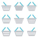 Shopping basket icon. Grey and blue shopping basket icons collection isolated stock illustration