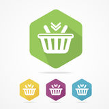 Shopping basket icon set flat. Vector. Royalty Free Stock Photo