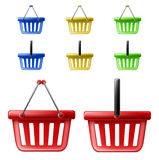Shopping basket icon set Royalty Free Stock Images