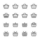 Shopping basket icon set, line version, vector eps10 Royalty Free Stock Images