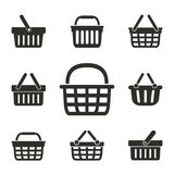 Shopping basket icon set. Royalty Free Stock Images