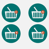 Shopping basket icon set vector Royalty Free Stock Photo