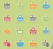 Shopping basket icon set Royalty Free Stock Photography