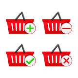 Shopping Basket with Icons Stock Image