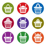 Shopping basket icons isolated on white background vector set, s Stock Photos