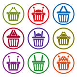 Shopping basket icons isolated on white background vector set, s. Upermarket shopping simplistic symbols vector collections stock illustration