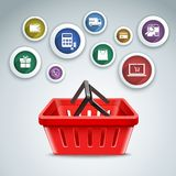 Shopping basket icons Royalty Free Stock Photos
