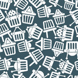 Shopping basket icons seamless background. Supermarket shopping simplistic symbols vector collections made as seamless pattern Royalty Free Stock Image