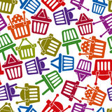 Shopping basket icons seamless background. Supermarket shopping simplistic symbols vector collections made as seamless pattern Royalty Free Stock Images