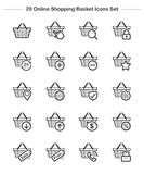 Shopping Basket icons set, Line Thickness icons Royalty Free Stock Image