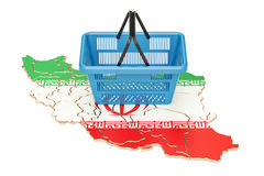 Shopping basket on Iranian map, market basket or purchasing powe. R in Iran concept Royalty Free Stock Image