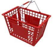 Shopping Basket Isolated On White Stock Photos