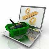 Shopping- basket and laptop Royalty Free Stock Images