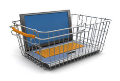 Shopping Basket and Laptop (clipping path included) Stock Images