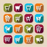 Shopping basket long shadows icons Royalty Free Stock Image