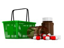 Shopping basket and medicament on white background. Isolated 3d Royalty Free Stock Photo