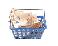 Shopping basket with money Stock Photography